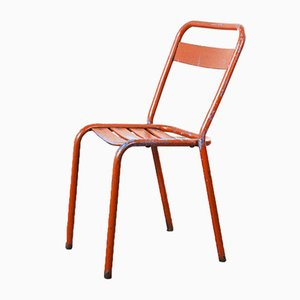 Red Metal T1 Dining or Outdoor Chair from Tolix, 1950s