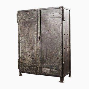 Riveted Industrial Metal Storage Cabinet or Cupboard, 1940s