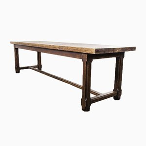 French Long Rectangular Oak & Birch Refectory Dining Table, 1940s