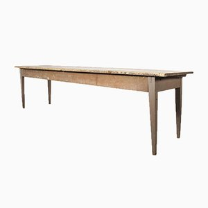 French Long Rectangular Pine Farmhouse Dining Table, 1940s