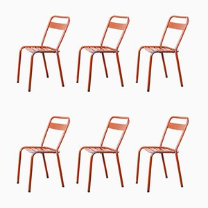 Red Metal T1 Dining or Outdoor Chairs from Tolix, 1950s, Set of 6