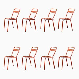 Red Metal T1 Dining or Outdoor Chairs from Tolix, 1950s, Set of 8