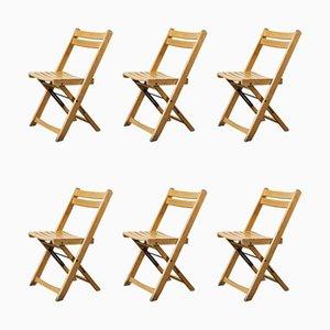 German Beech Folding Dining Chairs, 1950s, Set of 6