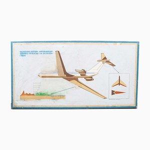 Handpainted Decorative Soviet Aerospace Educational Sign, 1950s