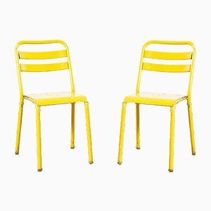 French Yellow Metal Dining Chairs from Tolix, 1950s, Set of 2