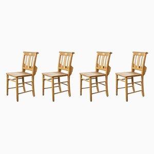 British Beech Church Dining Chairs, 1950s, Set of 4