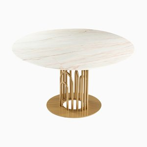 Marble and Brass Bara Dinner Table by Dooq