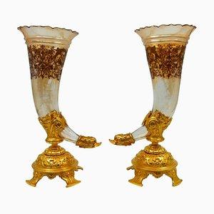 Bouquetières Enameled Gilt Bronze and Crystal Vases, Set of 2