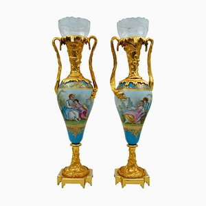 Porcelain Vases in Gilded Bronze and Crystal, Set of 2