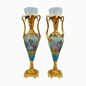 Porzellanvasen aus Vergoldeter Bronze und Kristallglas, 2er Set