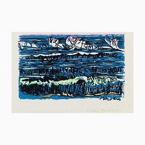 Livio De Morvan, Meereslandschaft, 20. Jahrhundert, Original Siebdruck