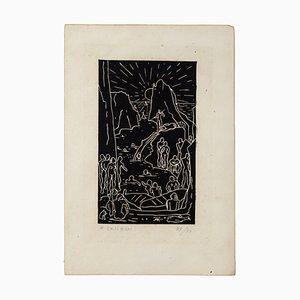 Felice Casorati, Capri / Faraglioni, 20. Jahrhundert, Originale Radierung