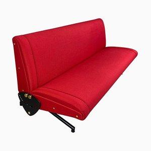 Dormeuse D70 rossa di Osvaldo Borsani per Tecno, anni '50