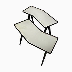Schwarz Lackierte Nussholz Beistelltische mit Spiegelglas, 1960er, 2er Set