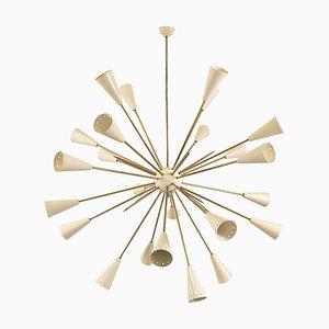 Italian Sputnik 32 Arms, 24-Light Brass Chandelier, 1970s