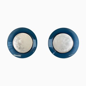 Model 1699 Blue Glass Mirrors by Max Ingrand, 1960s, Set of 2