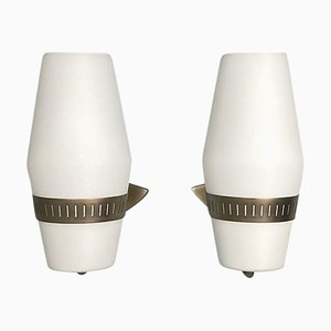 Model 2078 Large Mid-Century Opaline and Brass, Nickel Wall Lights from Stilnovo, 1960s, Set of 2