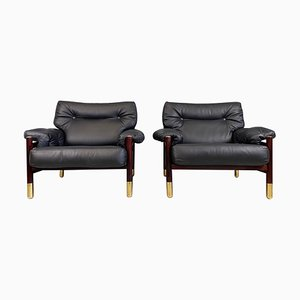 Black Leather Mid-Century Lounge Chairs Model Sella by Carlo de Carli, 1960s, Set of 2