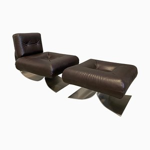 Armchair and Ottoman Model Alta in Brown Leather by Oscar Niemeyer, 1970s