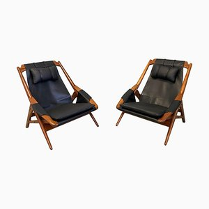 Black Leather Lounge Chairs by W.D. Andersag, 1950s, Set of 2