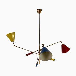 Brass Triennale 3-Arm Chandelier from Arredoluce, Italy, 1950s