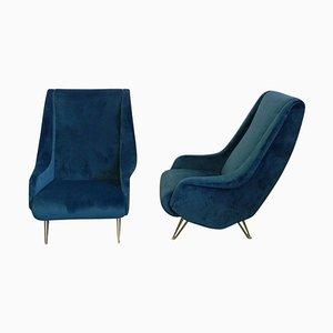 Mid-Century Italian Blue Velvet Armchairs from I.S.A. Bergamo, 1950s, Set of 2