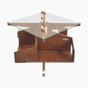Mid-Century Rosewood Italian Coffee Table with Rotating Shelves by Ico Parisi, 1958