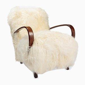 Sedia di pelle di pecora islandese di Jindrich Halabala