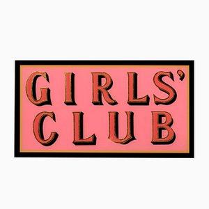 Cartel de club de chicas de hoja dorada de oro pintado a mano rosa