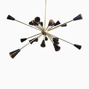 Lampada da soffitto Sputnik in ottone, anni '50