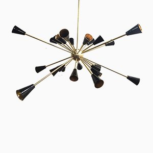Sputnik Brass Ceiling Lamp, 1950s