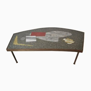 Mosaic and Brass Coffee Table by Berthold Müller, 1950s