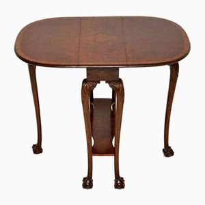 Antique Burr Walnut Drop Leaf Dining Table, 1920s