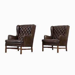 Scandinavian Executive Leather & Quilted Wing Chairs by OPE Mobler, 1960s, Set of 2