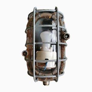 Industrial Grey Bunker Ceiling Lamp from Maehler & Kaege, 1950