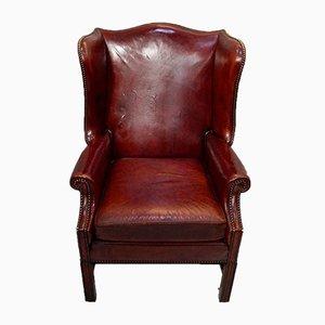 Georgian Style Leather Wingback Chair