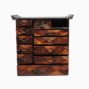 19th-Century Japanese Parquetry and Lacquered Cabinet