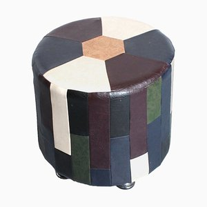 Multicolor Artificial Leather Cubist Mosaic Pouf, 1960s