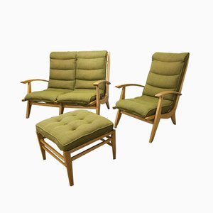 Free Span Green Sofa, Armchair & Footrest, 1954, Set of 3