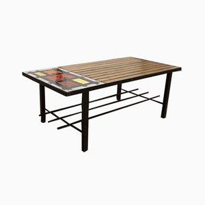 Niedriger Teak Lavastein Tisch, 1960er