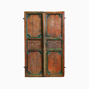 Antique Indian Hand-Carved and Painted Doors, 1900s, Set of 2