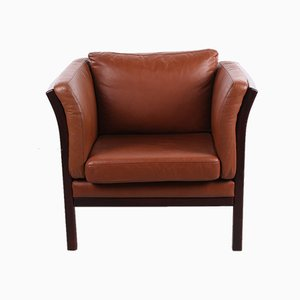 Danish Cognac Leather Armchair from Stouby, 1970s