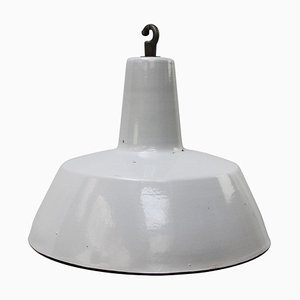 Lampe à Suspension Vintage Industrielle en Émail Gris de Philips, 1950s