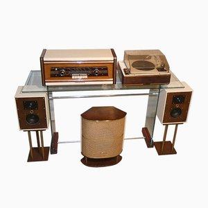 Radio Válvula / Amplificador y plato giratorio Garrard Valve de Philips, años 50. Juego de 5