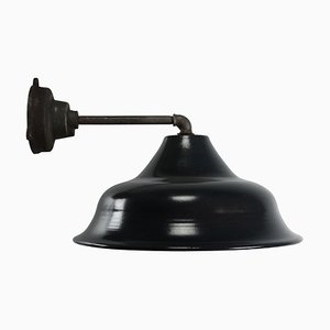 Vintage Industrial Black Enamel Cast Iron Wall Light