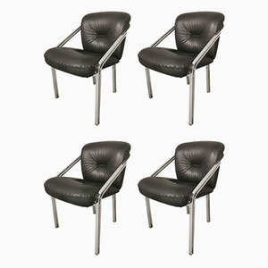 Leather and Steel Dining Chairs, 1970s, Set of 4