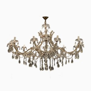 Large Crystal Murano Glass Chandelier, 1950s