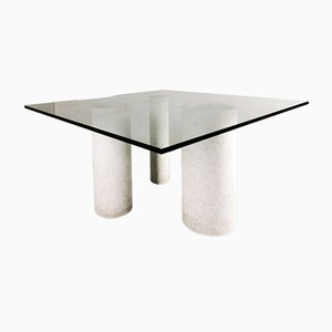Marble and Glass Dining Table by Massimo and Lella Vignelli for Casigliani, 1970s