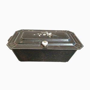 Antiker Kohlekasten aus Gusseisen & Emaille