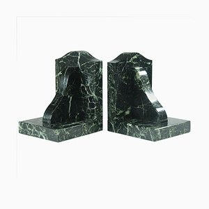 Vintage Green Marble Art Deco Bookends, 1930s, Set of 2